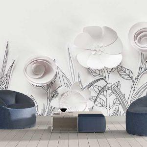 پوستر دیواری گل های کاغذی کد F-8516