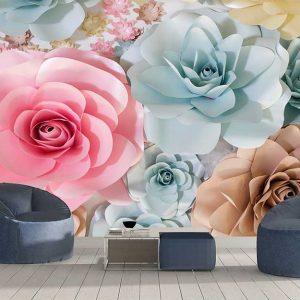 پوستر دیواری گل های کاغذی کد F-8517
