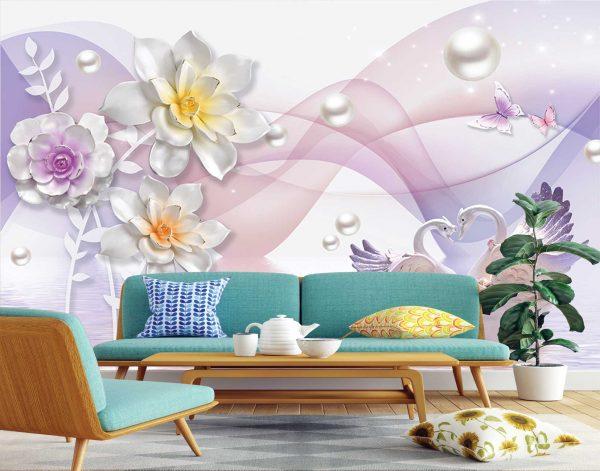 پوستر دیواری گل سه بعدی کد mt-83546